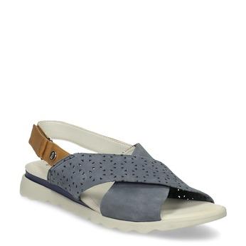 Kožené dámské modré sandály s perforací comfit, modrá, 566-9610 - 13