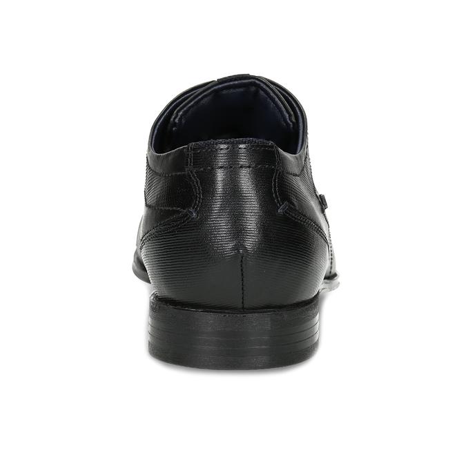 Pánské černé kožené polobotky s prošitím bugatti, černá, 824-6948 - 15
