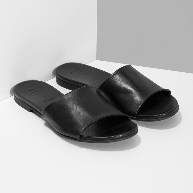 Černé kožené nazouváky dámské bata, černá, 564-6602 - 26