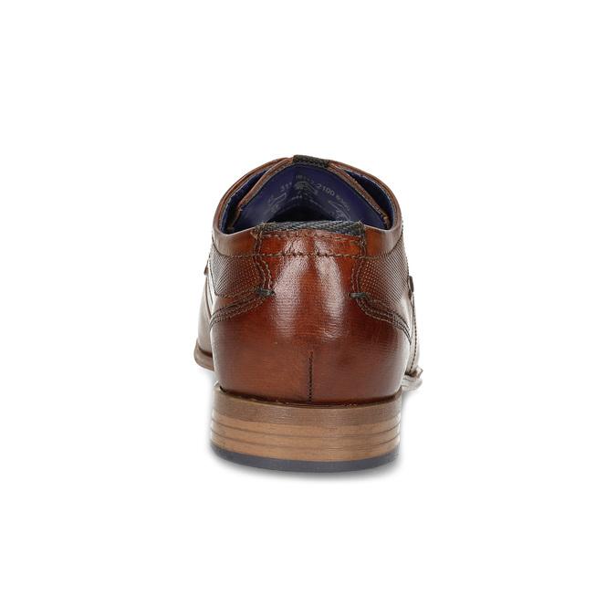 Hnědé pánské kožené polobotky s prošitím bugatti, hnědá, 824-0930 - 15