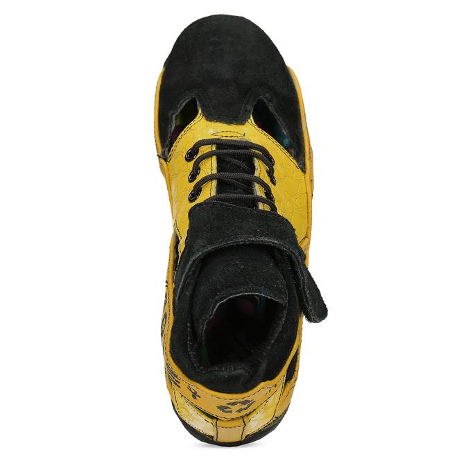 Žluté tenisky s černými detaily a průstřihy bata, žlutá, 544-8114 - 17