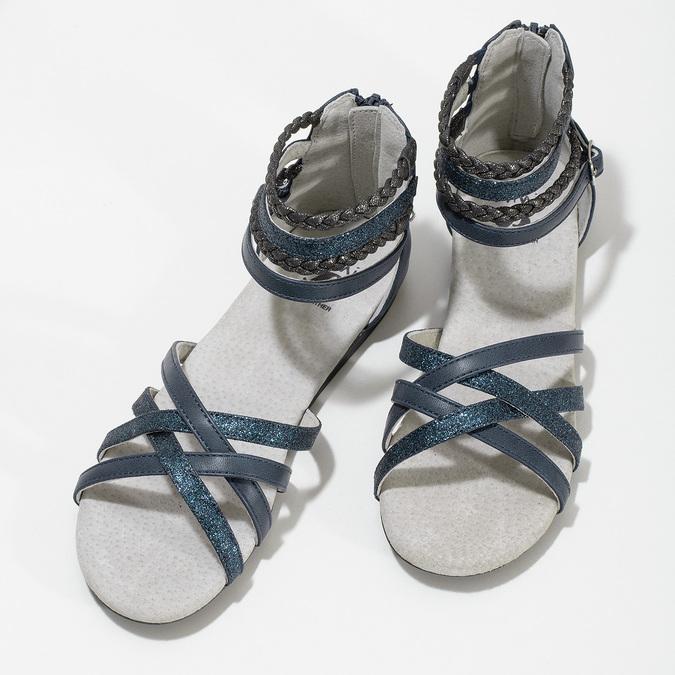 Dívčí sandály z kůže mini-b, modrá, 461-9620 - 16