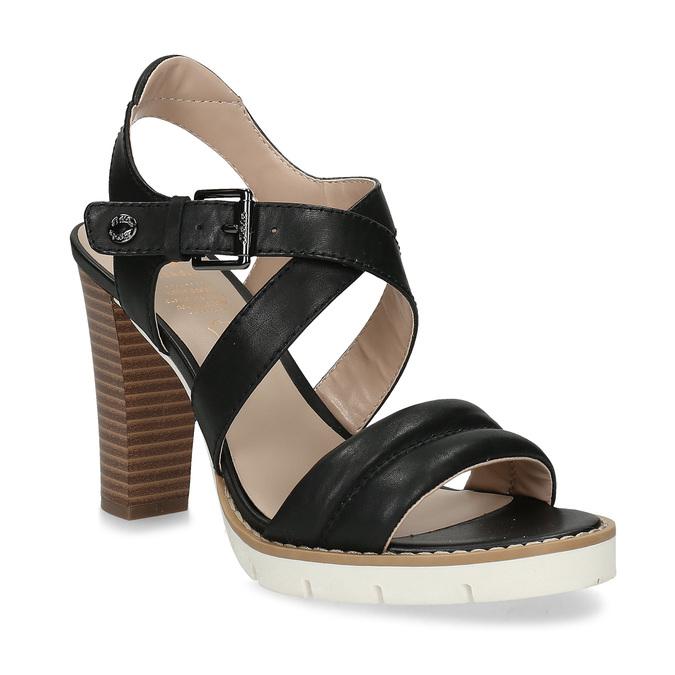 Kožené černé sandály na přírodním podpatku flexible, černá, 763-6631 - 13