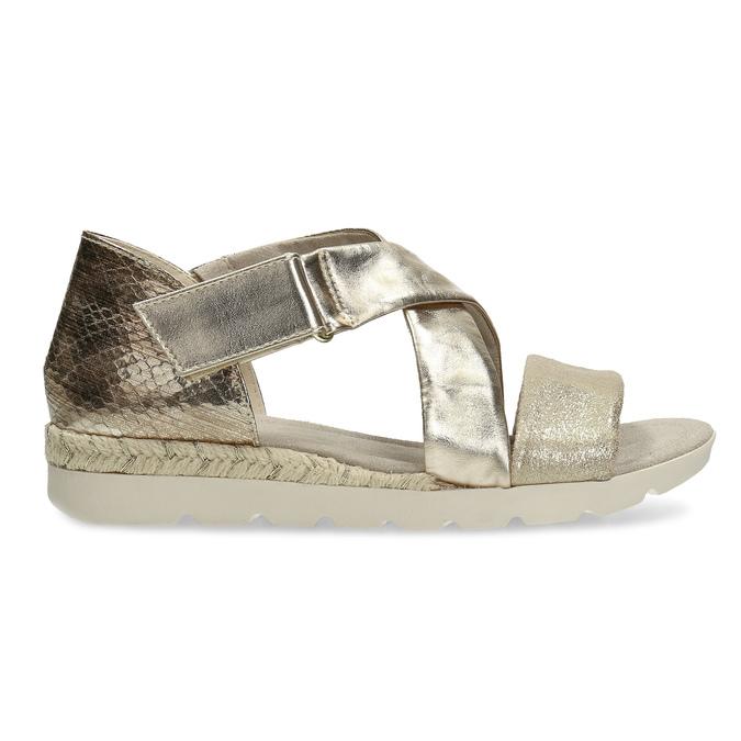 Zlaté dámské sandály na světlé podešvi bata, zlatá, 561-8606 - 19