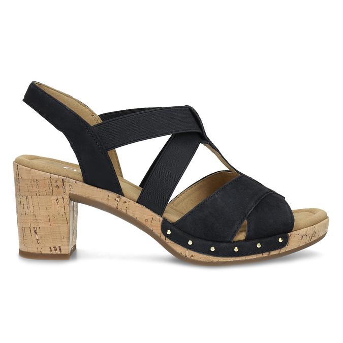 Černé dámské sandály z broušené kůže gabor, černá, 663-6603 - 19