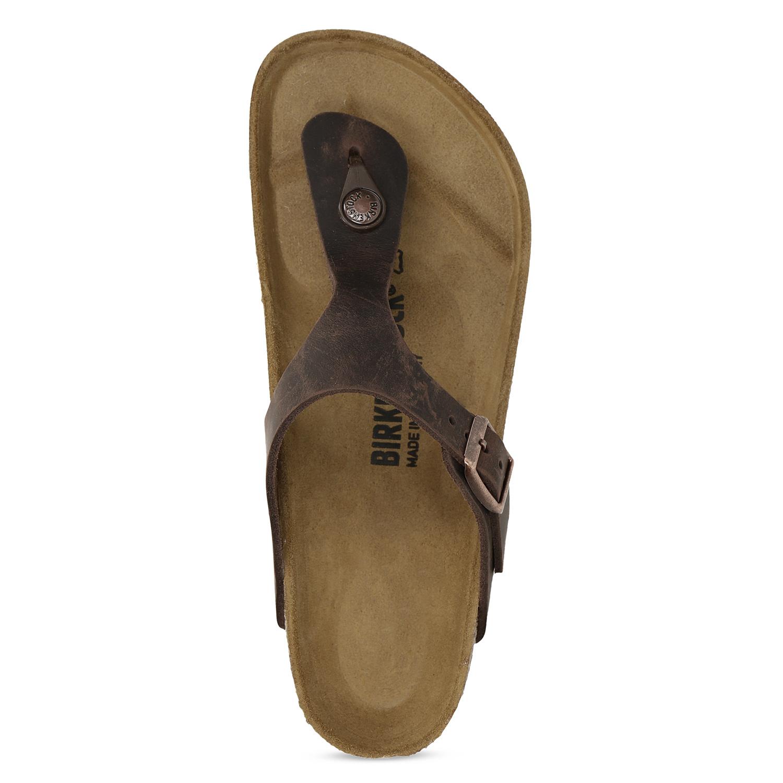 0981cf8b3908 Birkenstock Kožené hnědé žabky na korkové podešvi - Všechny boty ...