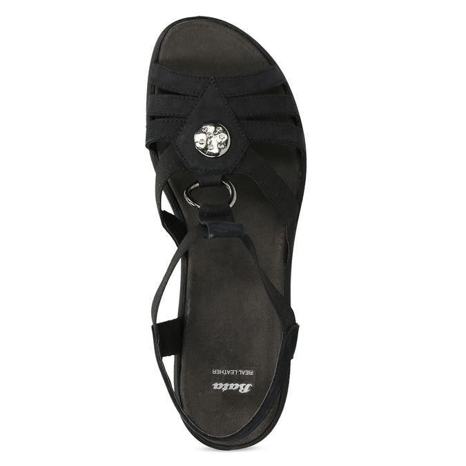 Černé kožené sandály bata, černá, 666-6602 - 17