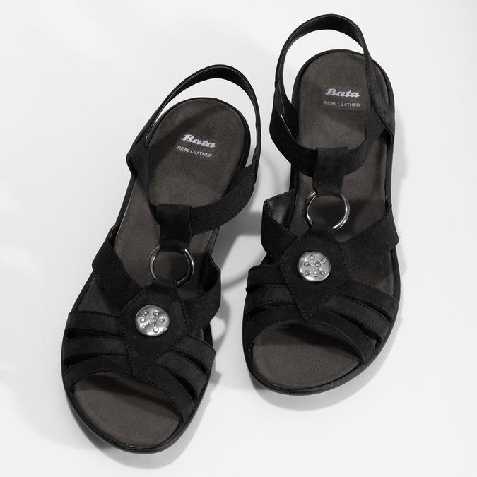 Černé kožené sandály bata, černá, 666-6602 - 16