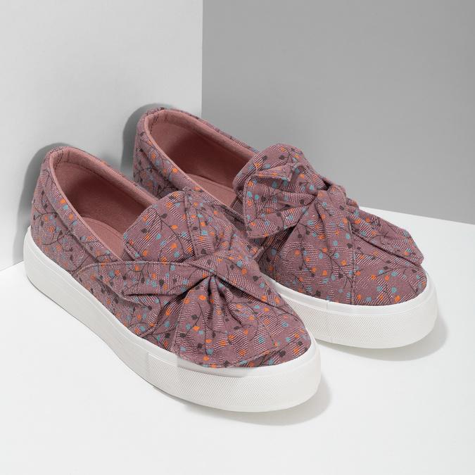 Fialová dámská Slip-on obuv se vzorem north-star, červená, 639-5602 - 26