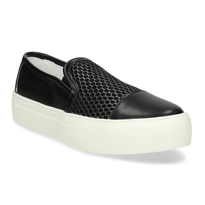 Černá dámská Slip-on obuv se strukturou bata-light, černá, 511-6615 - 13