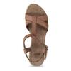 Hnědé kožené sandály na přírodní platformě bata, hnědá, 764-4603 - 17