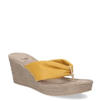 Dámské kožené žabky na platformě bata, žlutá, 666-8607 - 13