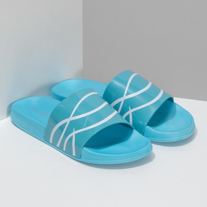 Dámské modré nazouváky s bílým detailem pata-pata, modrá, 572-9688 - 26