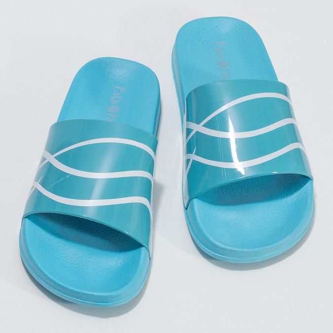 Dámské modré nazouváky s bílým detailem pata-pata, modrá, 572-9688 - 16