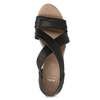 Kožené černé sandály na klínku bata, černá, 654-6600 - 17