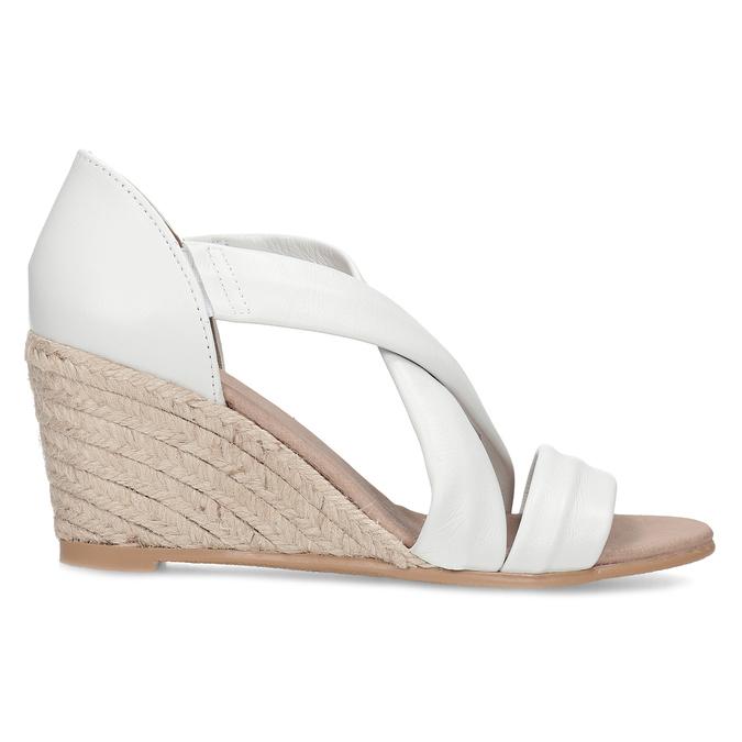 Bílé kožené sandály na klínku bata, bílá, 654-1600 - 19