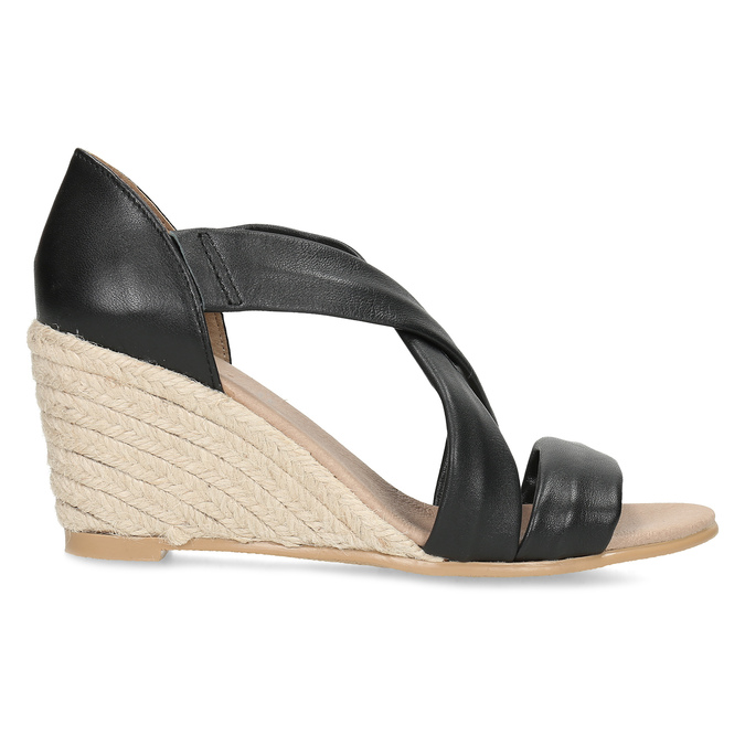 Kožené černé sandály na klínku bata, černá, 654-6600 - 19