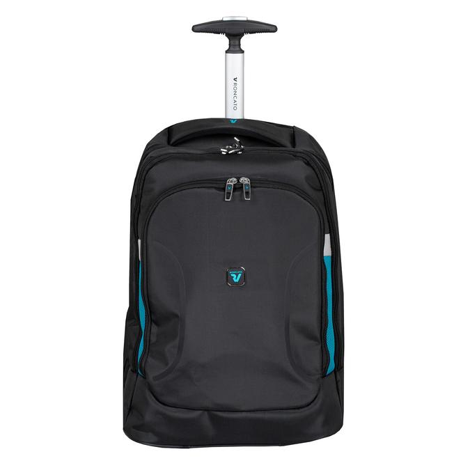 Černý cestovní batoh s modrými detaily roncato, černá, 969-6731 - 15