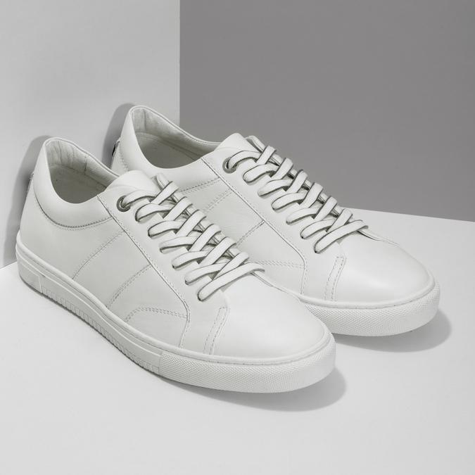 Bílé kožené pánské tenisky bata, bílá, 844-1649 - 26