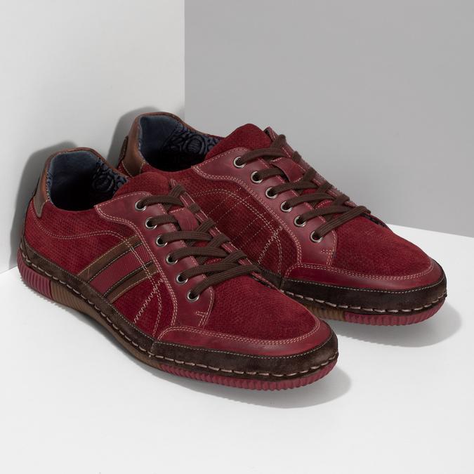 Červené pánské ležérní tenisky s prošíváním bata, červená, 846-0730 - 26
