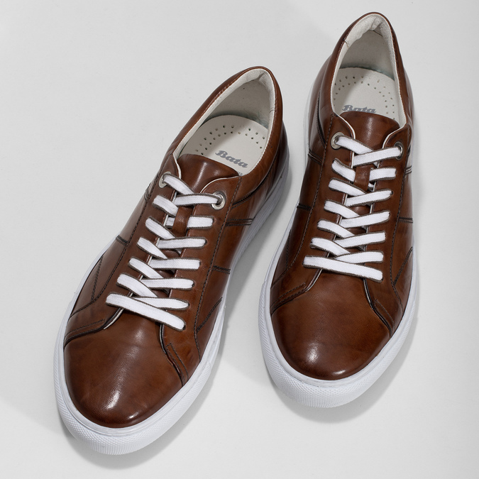 Kožené hnědé tenisky pánské bata, hnědá, 846-3649 - 16