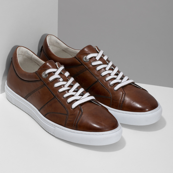 Kožené hnědé tenisky pánské bata, hnědá, 846-3649 - 26