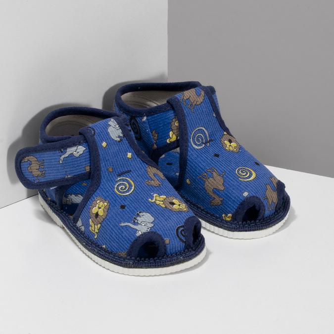 Modré dětské přezůvky se vzorem bata, modrá, 179-9630 - 26