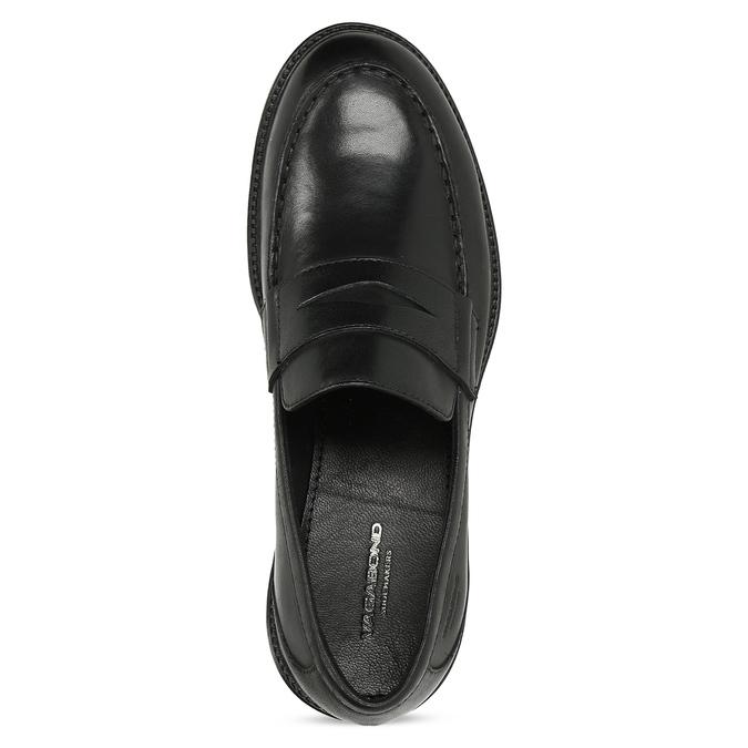 Černé kožené mokasíny na výrazné podešvi vagabond, černá, 524-6110 - 17