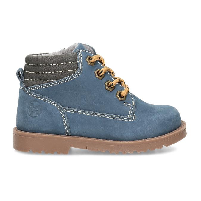 Dětská modrá kotníčková obuv s prošitím bubblegummers, modrá, 116-9620 - 19