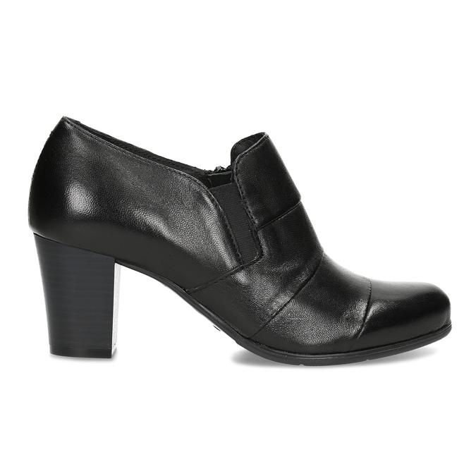 Kotníčková kožená obuv s prošitím bata, černá, 694-6609 - 19