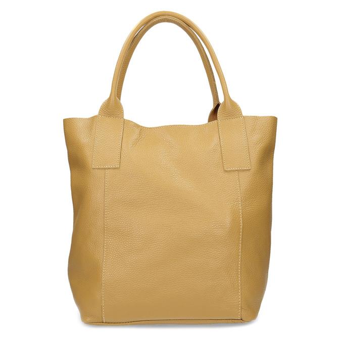 Žlutá kožená kabelka s prošitím bata, žlutá, 964-8221 - 26