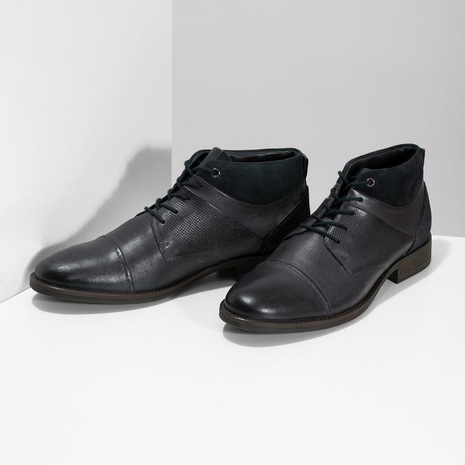 Modrá pánská kožená kotníčková obuv bata, modrá, 826-9937 - 16