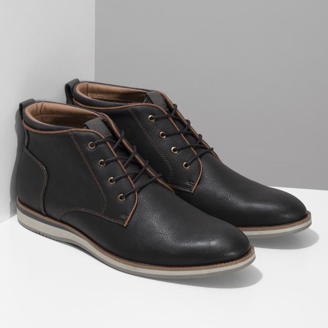Černá pánská kotníčková obuv s prošitím bata-red-label, černá, 821-6665 - 26