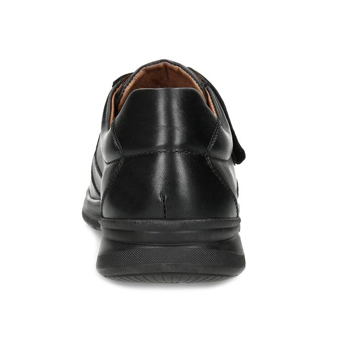Pánské kožené černé polobotky se suchým zipem comfit, černá, 824-6958 - 15
