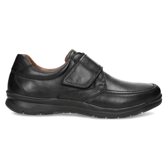 Pánské kožené černé polobotky se suchým zipem comfit, černá, 824-6958 - 19