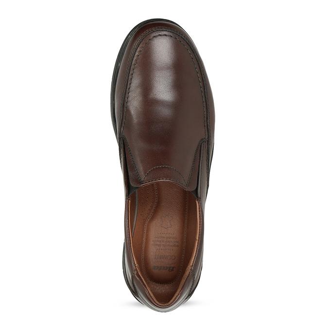 Hnědé kožené pánské polobotky ve stylu Slip-on comfit, hnědá, 816-4695 - 17