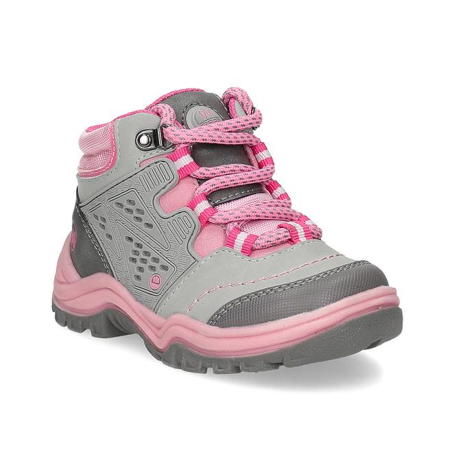 Šedá dětská kotníčková obuv s růžovými detaily bubblegummers, šedá, 121-2720 - 13