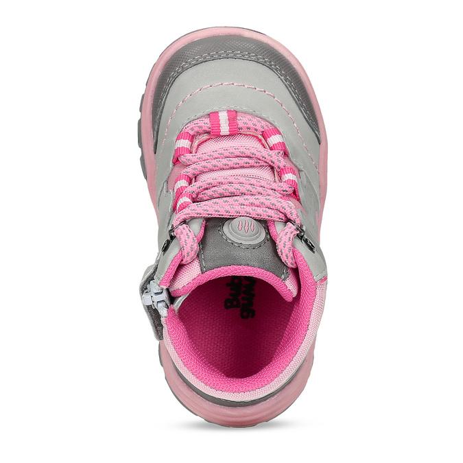 Šedá dětská kotníčková obuv s růžovými detaily bubblegummers, šedá, 121-2720 - 17
