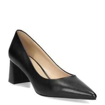 Černé kožené lodičky na stabilním podpatku bata, černá, 624-6612 - 13