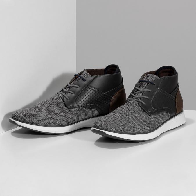Šedá pánská kotníčková obuv s hnědým detailem bata-red-label, šedá, 821-2673 - 16