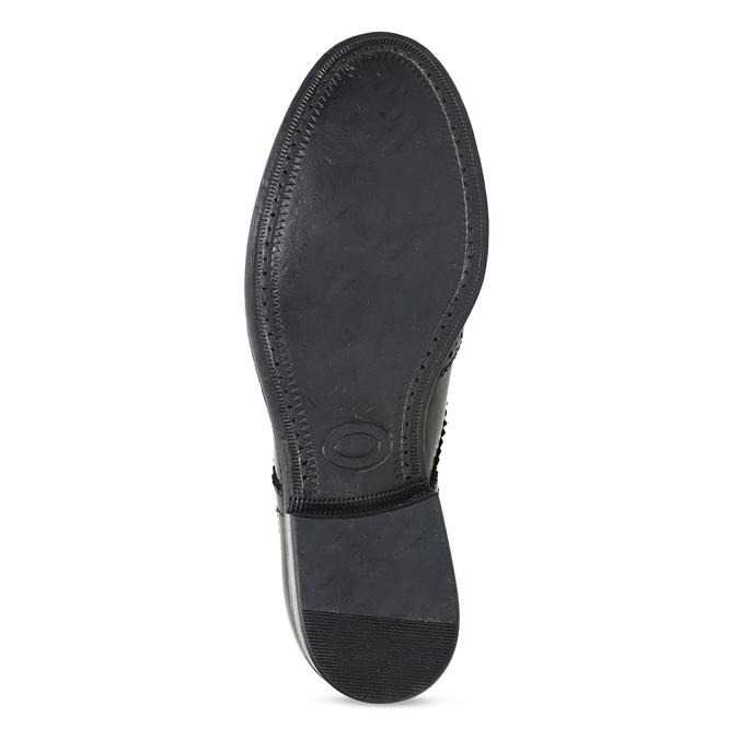 Dámské kožené polobotky s Brogue zdobením bata, černá, 524-6610 - 18