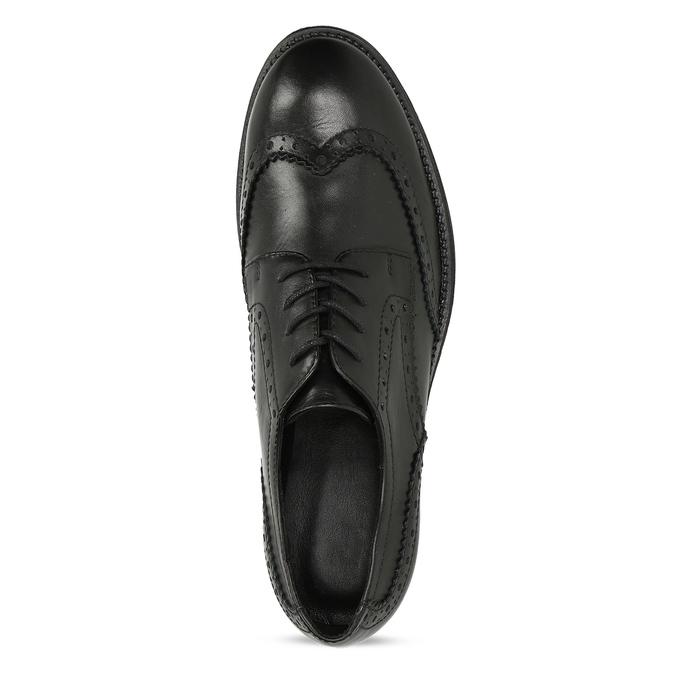 Dámské kožené polobotky s Brogue zdobením bata, černá, 524-6610 - 17