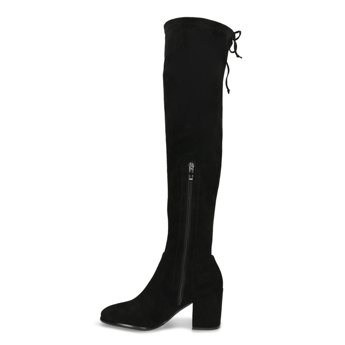 Vysoké černé kozačky na stabilním podpatku bata, černá, 699-6609 - 17