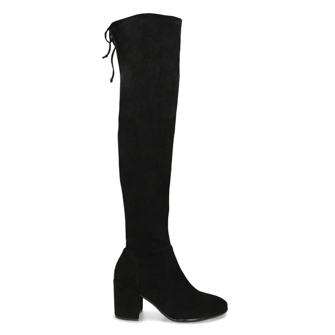 Vysoké černé kozačky na stabilním podpatku bata, černá, 699-6609 - 19