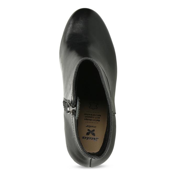 Černé dámské kožené kotníčkové kozačky insolia, černá, 794-6606 - 17