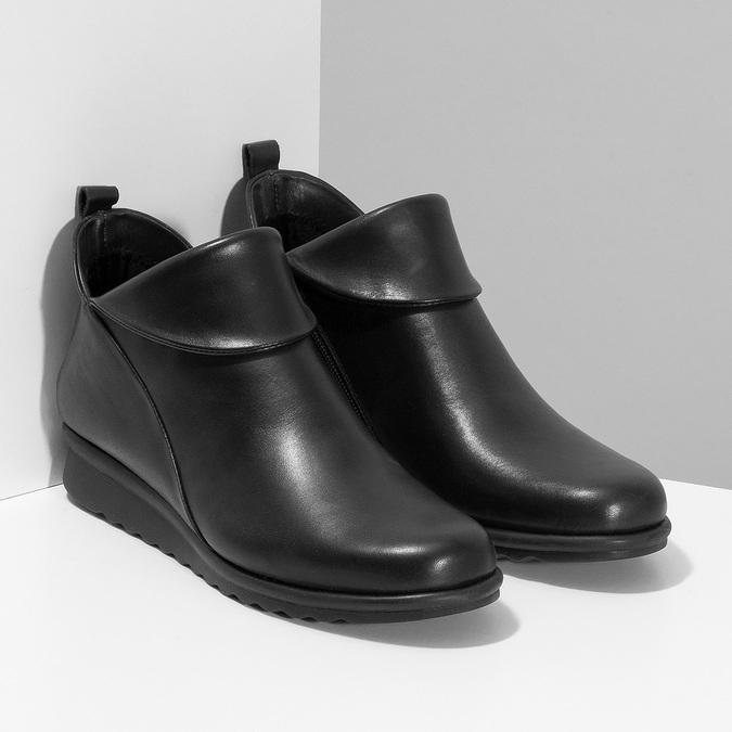 Dámské černé kožené kotníčkové kozačky comfit, černá, 594-6607 - 26