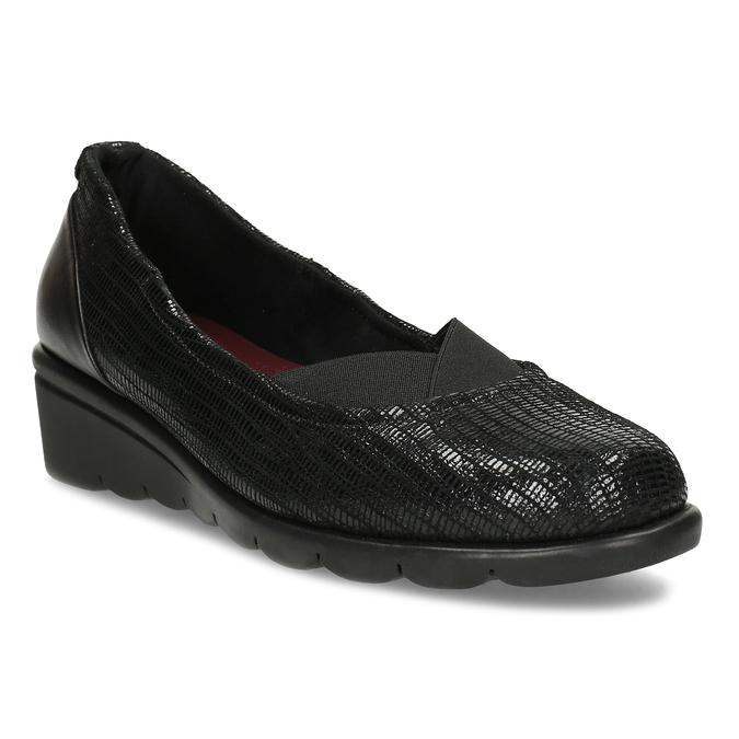 Kožené černé dámské baleríny na klínku comfit, černá, 526-6605 - 13