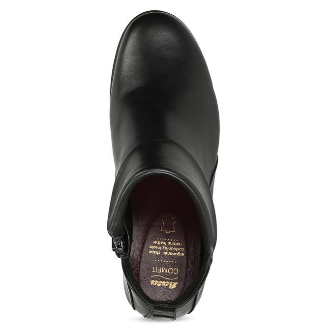 Dámské černé kožené kotníčkové kozačky comfit, černá, 594-6607 - 17