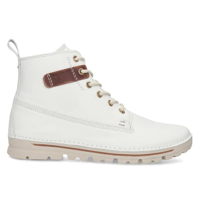 Dámská šněrovací obuv z bílé kůže weinbrenner, bílá, 596-1603 - 19