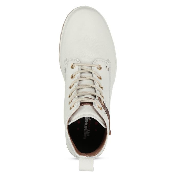 Dámská šněrovací obuv z bílé kůže weinbrenner, bílá, 596-1603 - 17